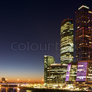 Skyscrapers International Business Center City at night, Moscow, Russia