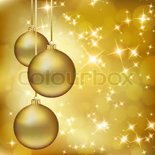 Golden Christmas balls on abstract gold background Vector eps10 illustration