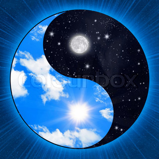 Yin yang symbol wigh clouds and stars