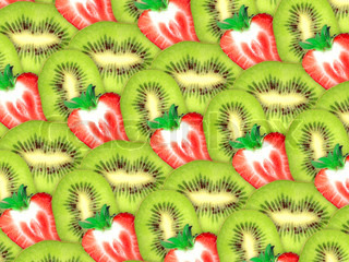 Abstract background of fresh green kiwi and red strawberry slices for your design