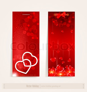 two vertical festive banner with hearts