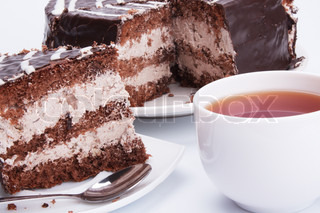 the chocolate cake and cup of tea