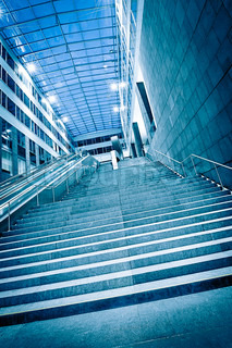 Steps in a modern Building with glass dome