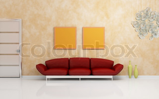 Luxurious modern interior composition with a red sofa