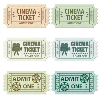 Set of Cinema Tickets in Different Colors and Styles, vector illustration