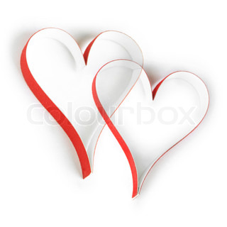 Valentine's paper hearts on white background