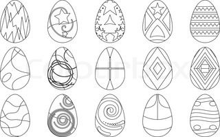 Easter eggs with various patterns, set, contours