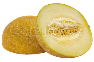 Cut melon in half isolated on white