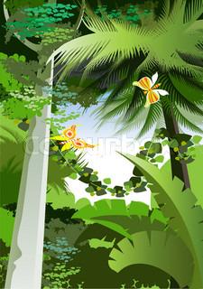 Tilgroet planter i junglen