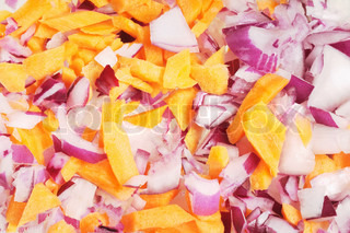 Finely chopped red onion and carrots