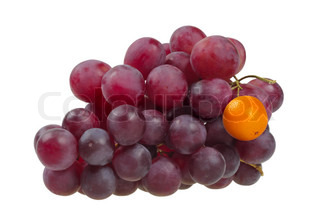Bunch of red grapes, which has a Grape replaced by Mandarin It symbolizes the difference The concept of originality