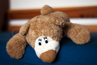 Photo of a teddy bear on the blue bed