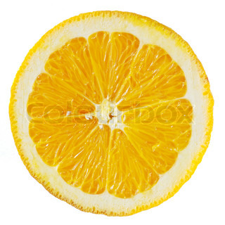 A perfectly round orange slice isolated on a white background