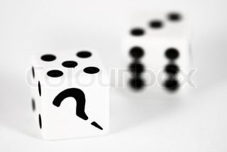 Two dice with question mark