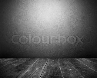 Dark vintage interior of shabby grunge floor and floral wallpaper