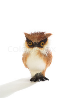Cute fluffy toy owl isolated on white background