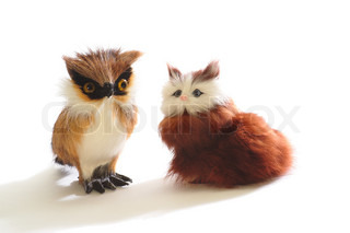 Pair of cute fluffy toys: kitten and owl, isolated on white background