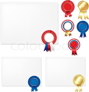 Ribbons Rosette Badge And Blank Gift Tags, Isolated On White Background, Vector Illustration