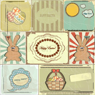 Easter card in vintage style - basket of Easter Eggs and Bunny - vector illustration