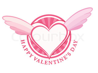 HAPPY Valentine day stamp with heart and wings Vector illustration