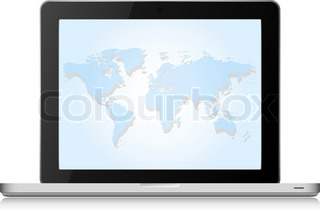 Vector laptop computer with world map on a screen