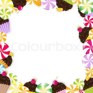 Birthday Frame With Cupcake, Vector Illustration