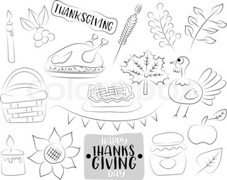 Happy Thanksgiving Day Cartoon Icons And Objects Set Black White Outline Coloring Page
