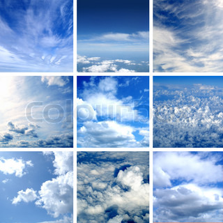 This picture is made of nine different types of clouds Very good as illustration