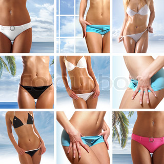 Bright collage made of nine belly pictures over abstract blue backgrounds