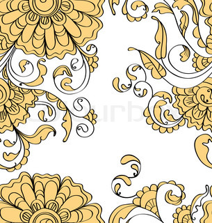 Abstract hand-drawing background, Seamless pattern with flowers can be used for wallpaper, pattern fills, web page background, surface textures