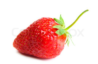 A bright red strawberry on white background