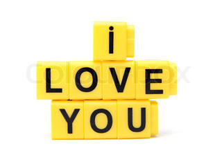 An image of yellow blocks with words ''I love you'' on them
