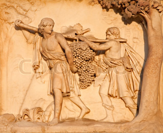 Milano - detalje fra facade Duomo - The Spies Retur fra Kana'an med en stor Bunch of Grapes