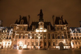 Paris - Hotel de Ville in the night - town-hall