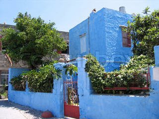 Traditional Greek house and garden
