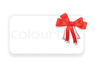 Greeting card with red ribbon and bow