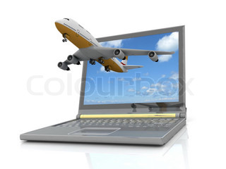he plane takes off from the laptop monitor