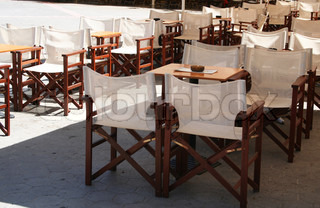 Greece. Kos island. Kos town. An open-air cafe