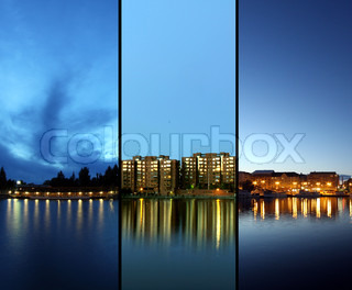 Three different evening cityscapes with lights reflecting from water.