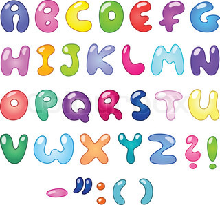 Colorful bubble shaped letters set