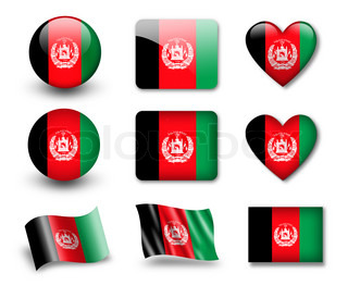 The Afghan flag - set of icons and flags glossy and matte on a white background