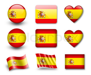 The Spanish flag - set of icons and flags glossy and matte on a white background