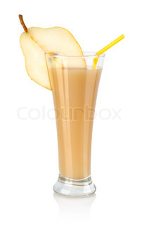 Pear juice isolated on a white background