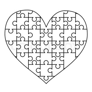 16 white puzzles pieces arranged in a square jigsaw puzzle template
