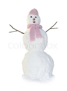 An image of snowman in pink. Isolated on white.