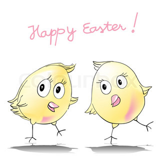 happy easter card, two chicken cartoons isolated on white