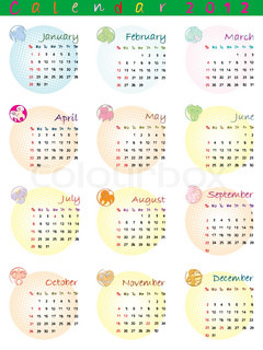 calendar 2012 with zodiac signs and pop art disco dots