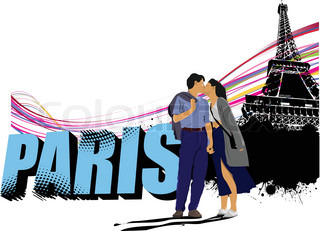 3D word Paris on the Eiffel tower grunge background with kissing couple Vector illustration