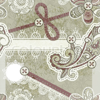 vector seamless vintage scrap template design, clipping mask, elements can be used separately, includes photo frame, baw, flower, laces, buttons, origami star,laces, cloud, and paisley elements