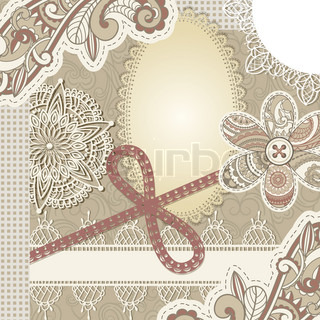 vector vintage scrap template design, clipping mask, elements can be used separately, includes photo frame, baw, flower, laces, buttons, and paisley elements